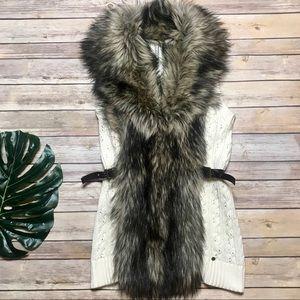 Guess Knit Faux Fur Trim Sweater Vest